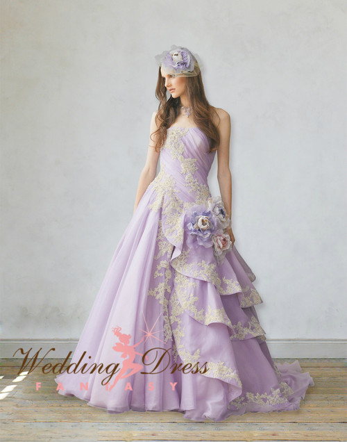 Lavender Wedding Dress With Gold Lace