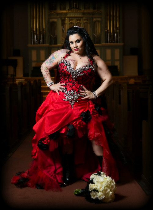 Gothic wedding dresses and gothic bridal gowns red and black corset wedding dress junglespirit Images