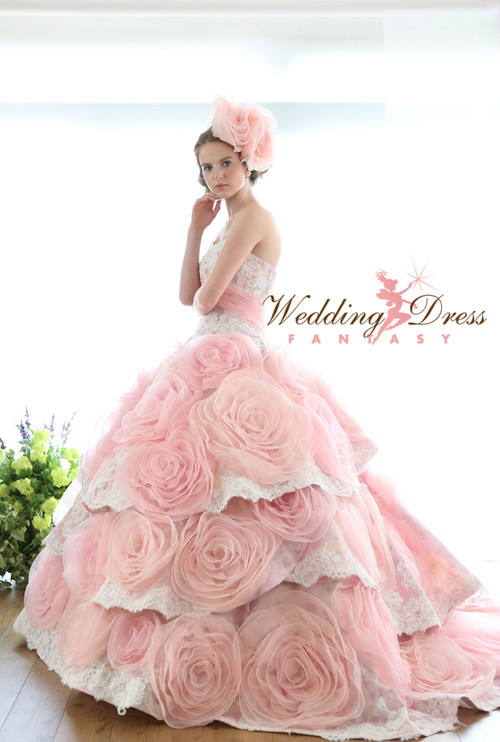 Pink and Ivory Wedding Dress