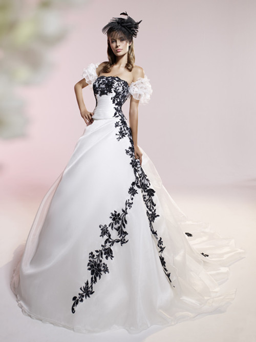 White and Black Wedding Dress
