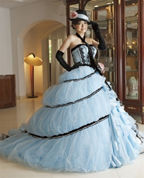Blue Wedding Dress with Black Details