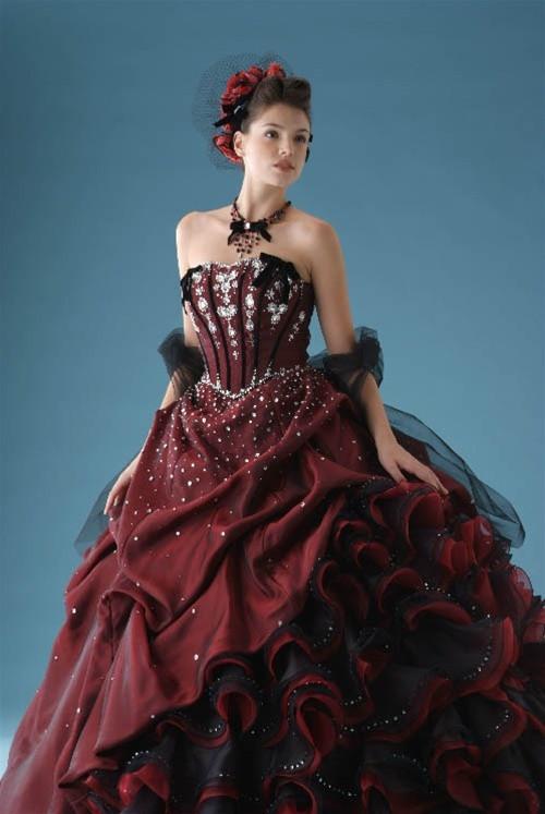 Burgundy Wedding Dress