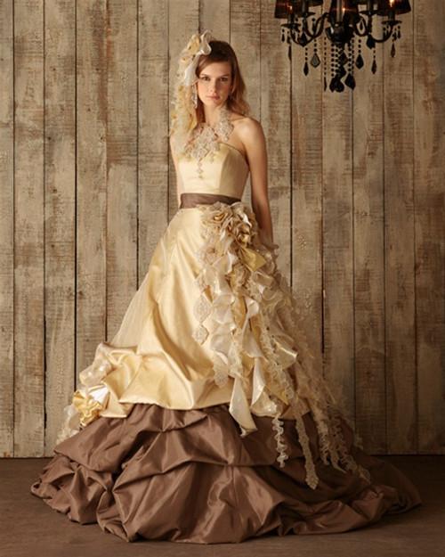 Gold, Yellow, Halloween and Orange Wedding Dresses