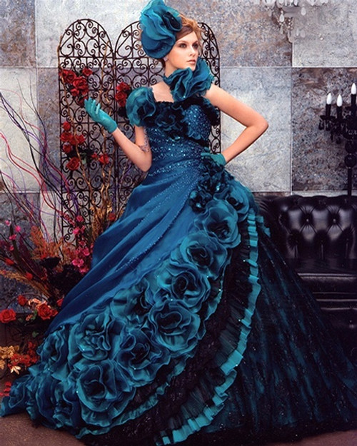 Blue Wedding Dress Ballgown