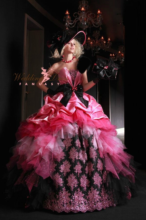 Pink and Black Wedding Dress