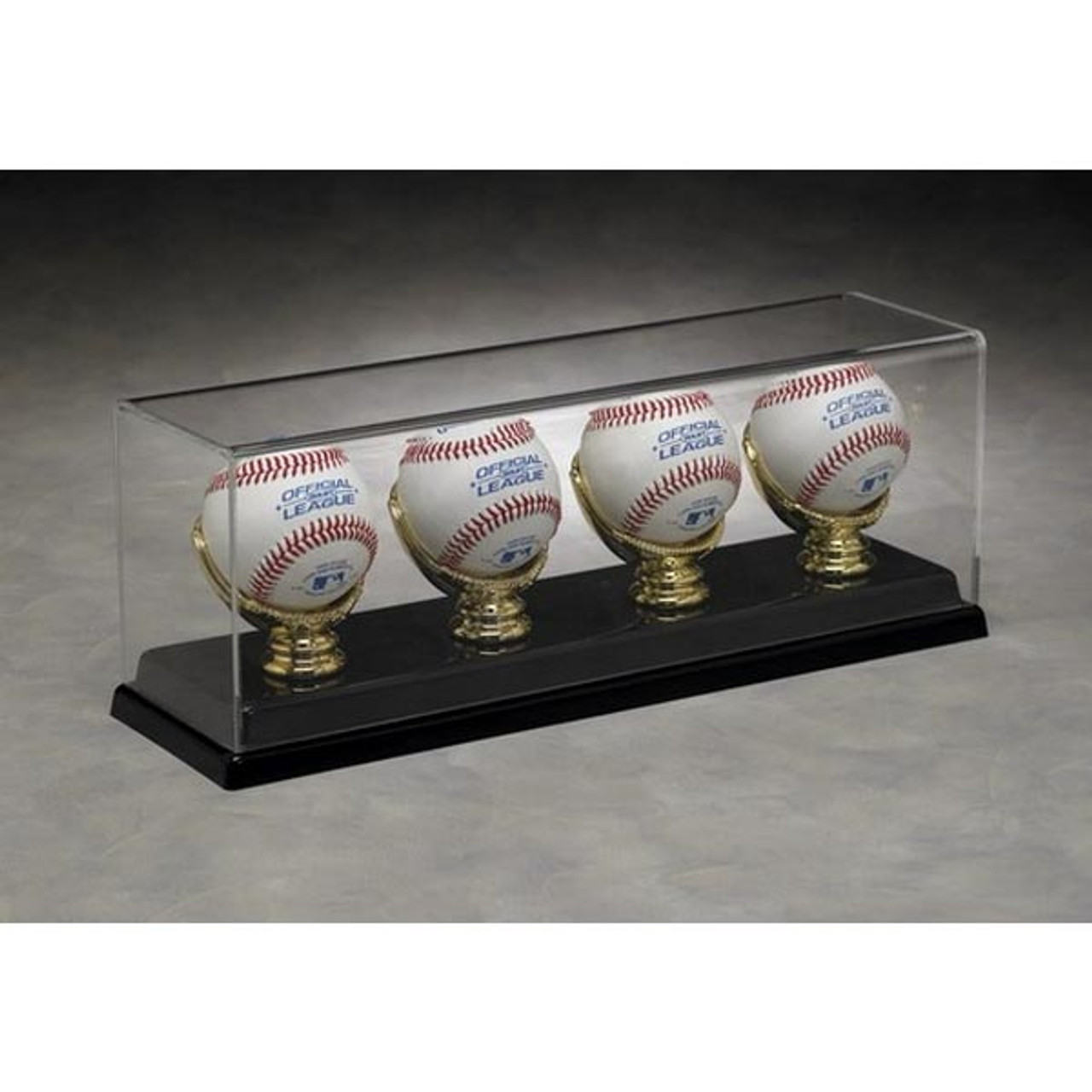 4 Baseball Display Case With Golden Glove Ball Holders Nikco