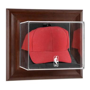 NBA Logo Brown Framed Wall Mounted Cap Case