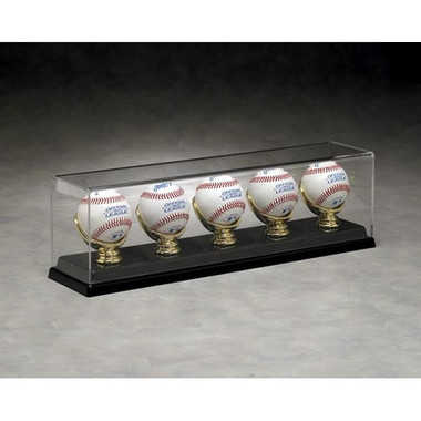 5 Baseball Display Case with Golden Glove Ball Holders