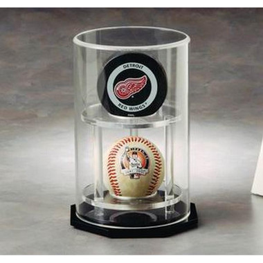 2 Baseball Circular Vertically Stacked Display Case