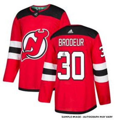 Martin Brodeur New Jersey Devils Autographed Red Adidas Authentic Jersey with HOF 2018 Inscription