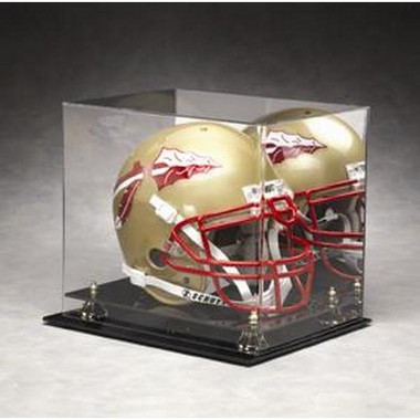 Full Size Football Helmet Display Case with Gold Risers and Mirrored Background