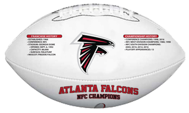 Atlanta Falcons NFC Champ & Super Bowl Appearance Football w/ Acrylic Case