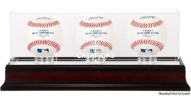 Houston Astros 2017 World Series Champions Logo Mahogany 3-Ball Display Case