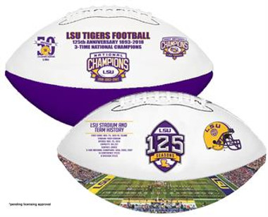 LSU 125 Seasons Football w/ Acrylic Case