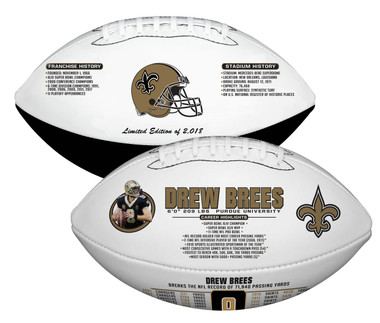 Drew Brees, NFL All-Time Passing Leader, Commemorative Rawlings Football with Acrylic Case