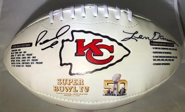Patrick Mahomes and Len Dawson DUAL Signed Kansas City Chiefs Super Bowl IV Football