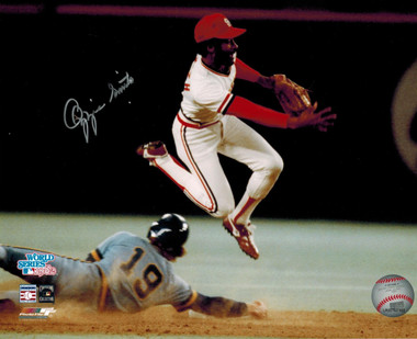 Ozzie Smith Autogaphed 1982 World Series 8x10 Action Photo