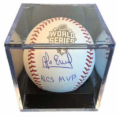 "Alcides Escobar Autographed 2015 World Series Baseball with ""ALCS MVP"" Inscription"