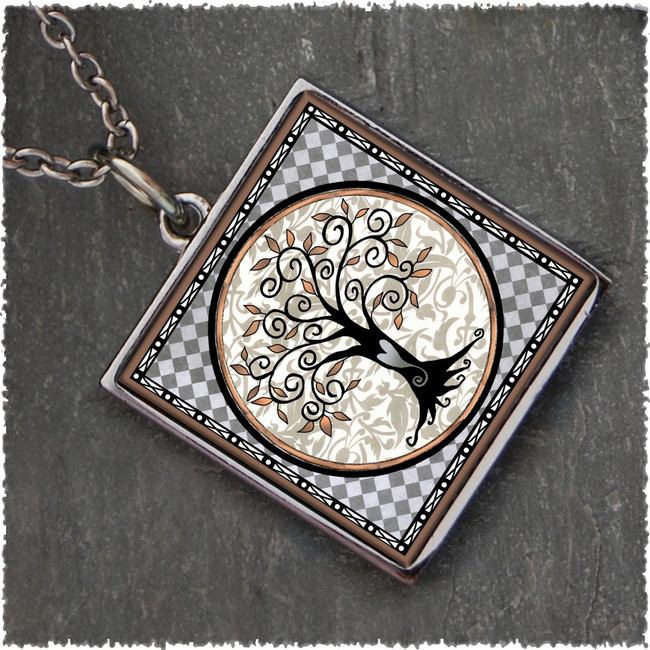 Tree of Life Gray Reversible Square Pendant