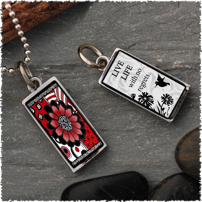 Black White Red Flower Reversible Rectangular Pendant