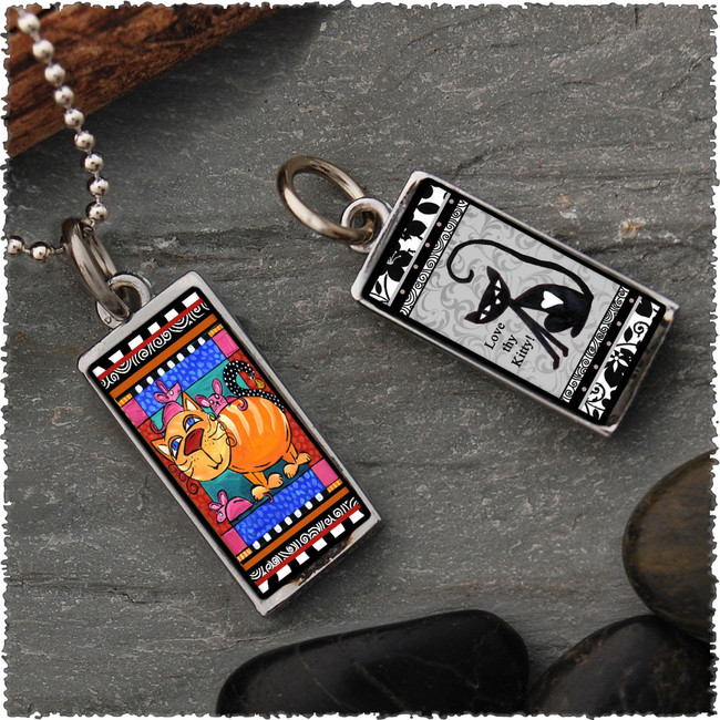 Cat and Mouse Reversible Rectangular Pendant