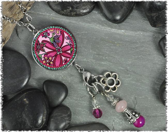 Pink Flower Reversible Circular Charm & Bead Pendant