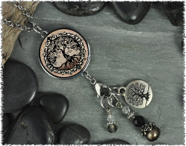 Tree of Life Brown Reversible Circular Charm & Bead Pendant