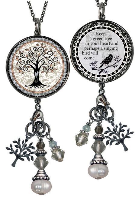 Tree of Life Gray Reversible Circular Charm & Bead Pendant