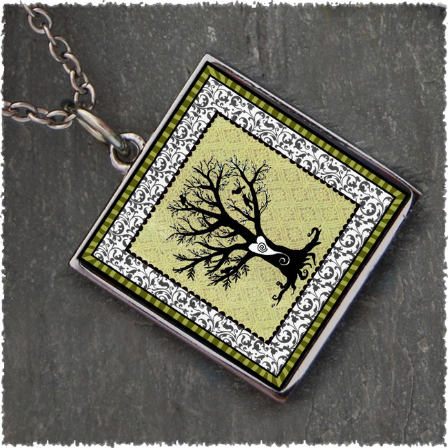 Vintage Tree of Life Green Reversible Square Pendant