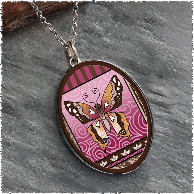 Butterfly Reversible Silver Oval Pendant