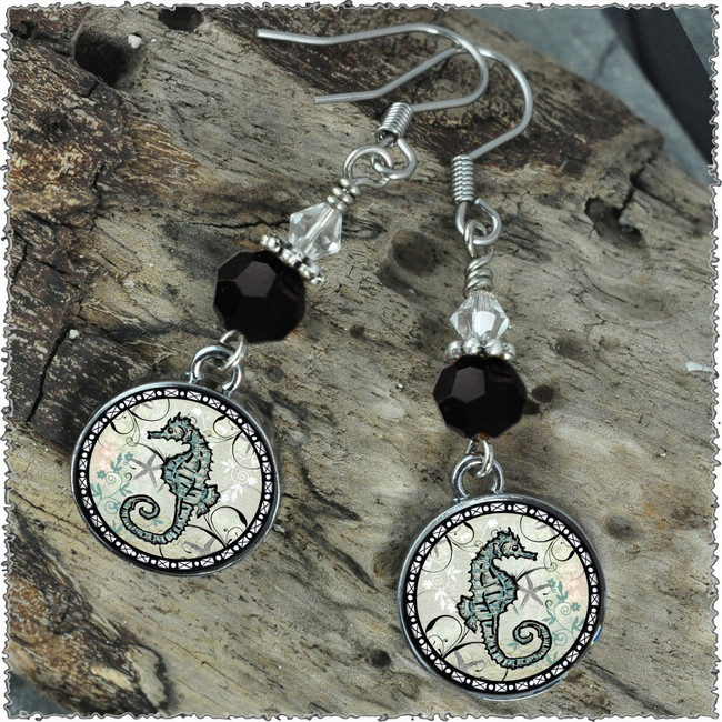 Seahorse Crystal Circular Earrings