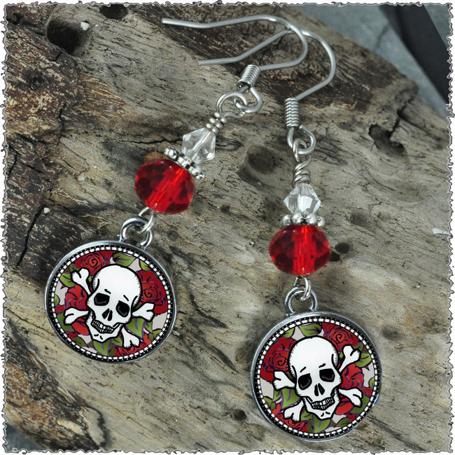 Skull Crystal Circular Earrings