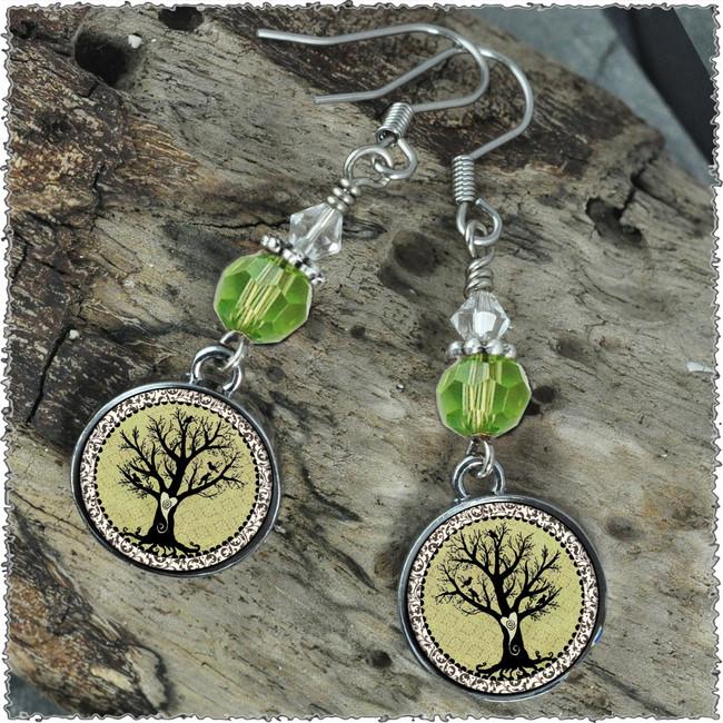 Vintage Tree of Life Green Crystal Circular Earrings