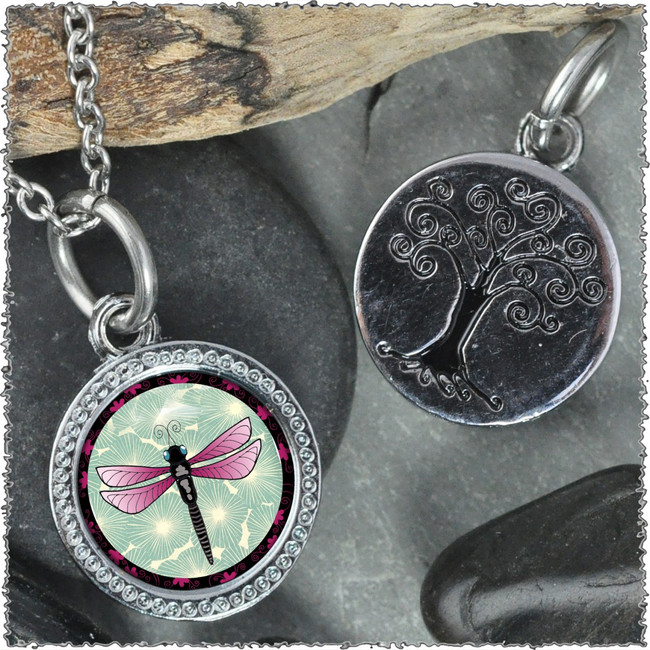 "Green Dragonfly ""Tree"" Pendant"