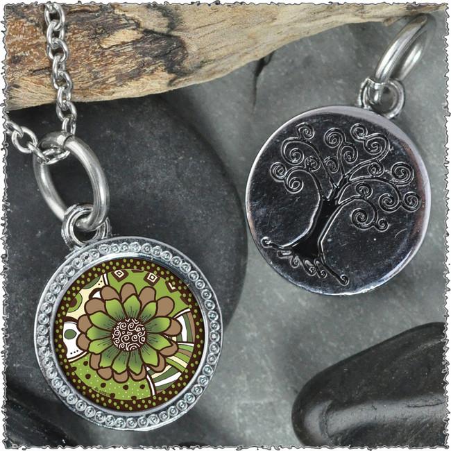 "Green Brown Flower ""Tree"" Pendant"