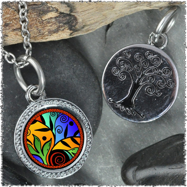 "Leaf Flower Color ""Tree"" Pendant"