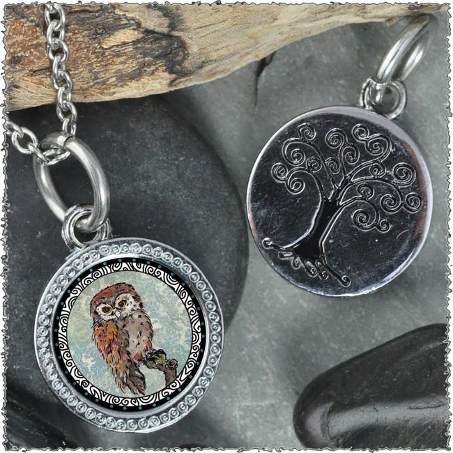 "Owl Blue ""Tree"" Pendant"