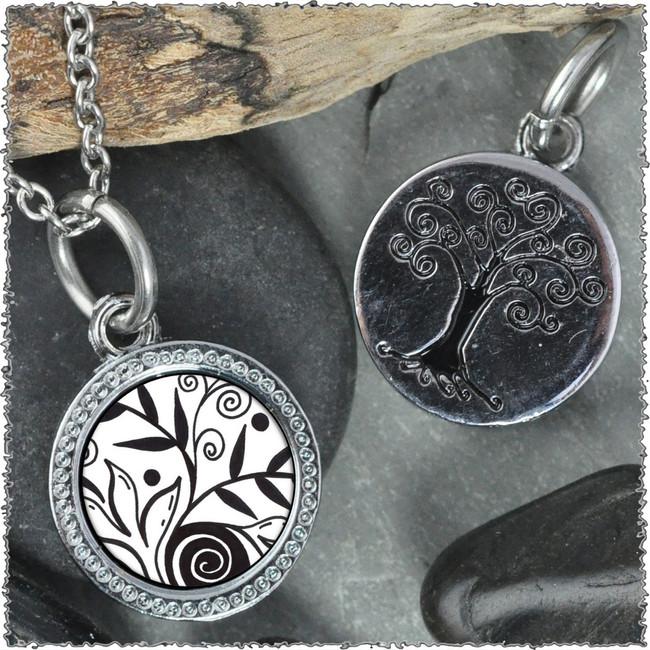 "Leaf Flower Black White ""Tree"" Pendant"
