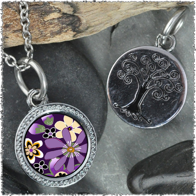 "Purple Retro Flower ""Tree"" Pendant"