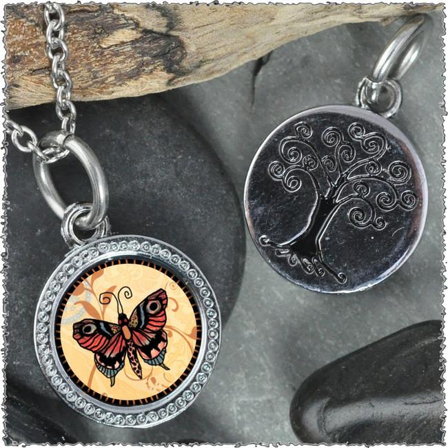 """Orange Butterfly """"Tree"""" Pendant"""