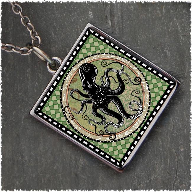 Octopus Square Reversible Pendant