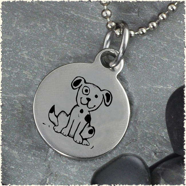 Dog Reversible Stainless Steel Pendant