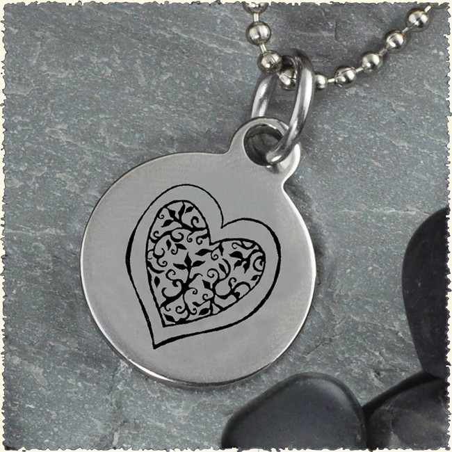 Heart Flower Reversible Stainless Steel Pendant