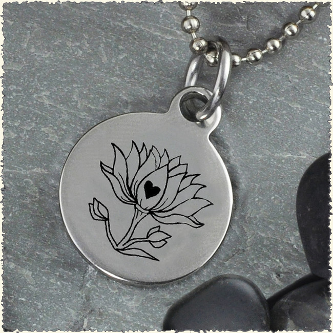 Lotus Reversible Stainless Steel Pendant