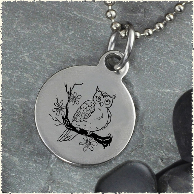 Owl Reversible Stainless Steel Pendant