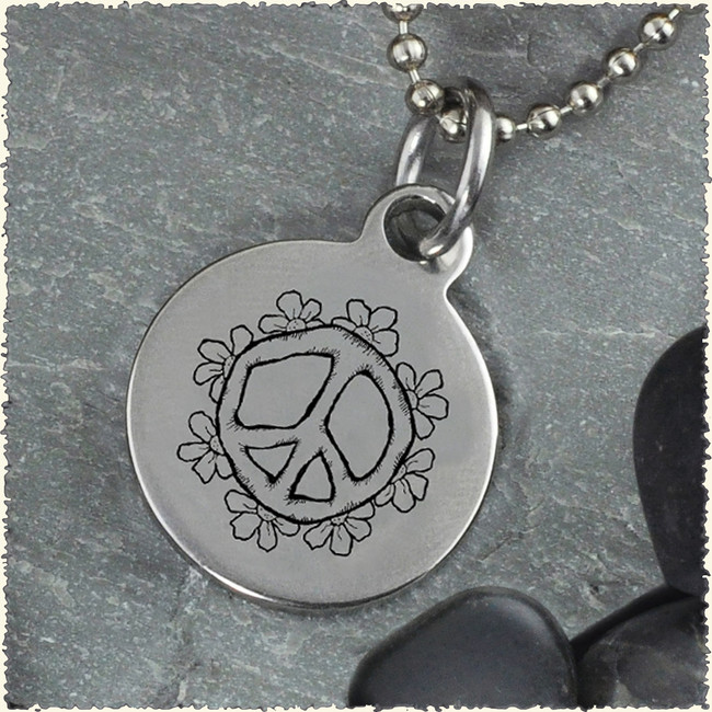 Peace Flower Reversible Stainless Steel Pendant