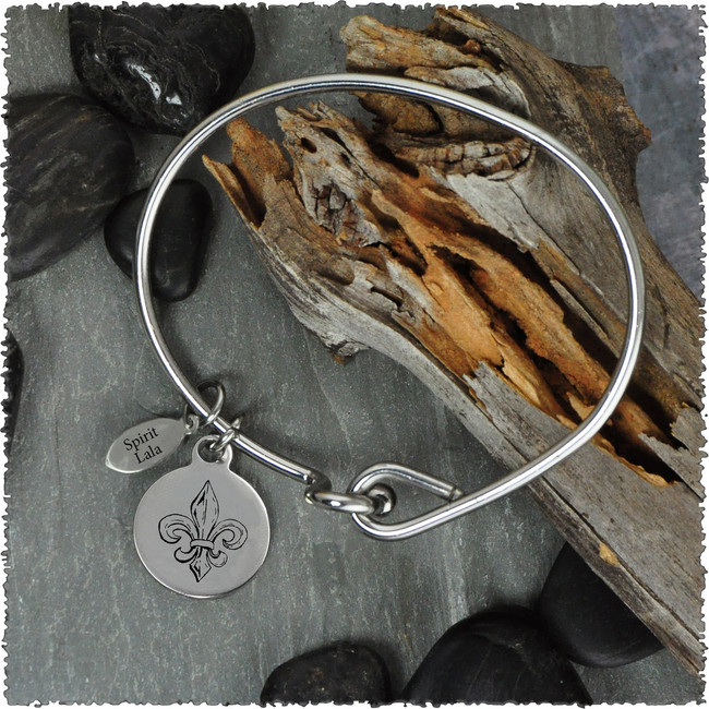 Flur de Lis Stainless Bangle with Reversible Charm