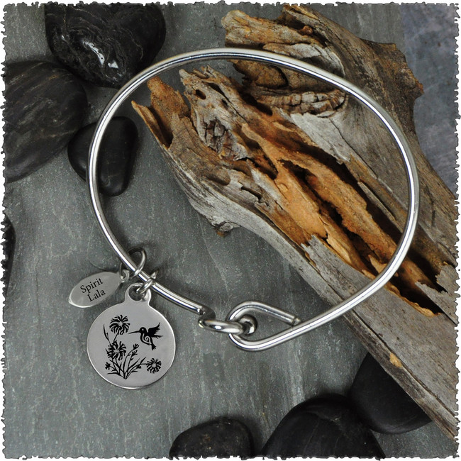 Hummingbird Stainless Bangle with Reversible Charm