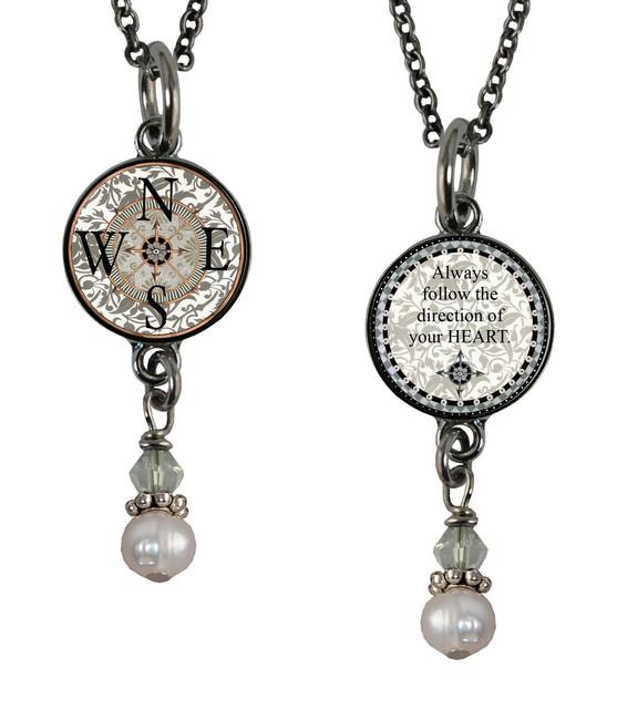 Compass Small Circular Reversible Beaded Pendant