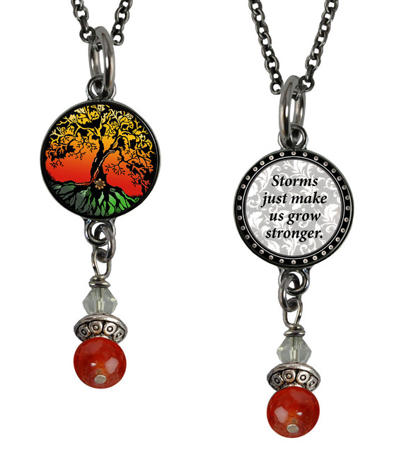 Tree of Life Color Small Circular Reversible Beaded Pendant